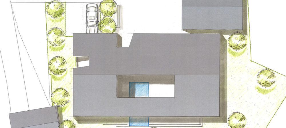 Atriumhaus Entwurf Dachaufsicht