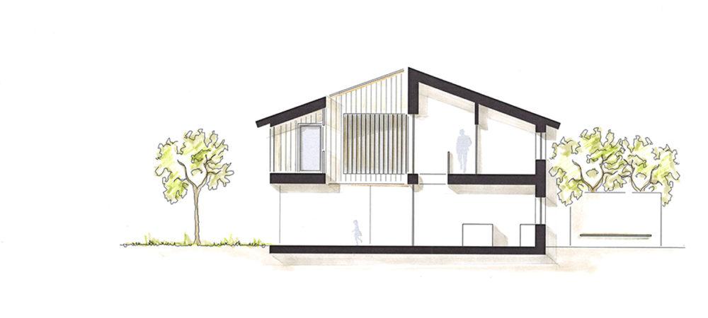 Atriumhaus Entwurf Schnitt