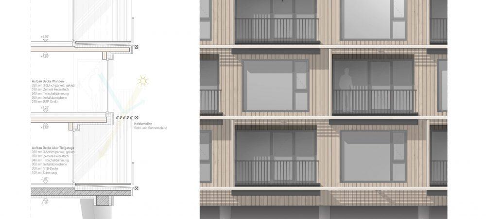 Fassadenschnitt Ansicht Holzbau